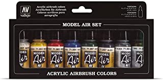 Vallejo Model Air Basic Colors Acrylic Paint Set for Air Brush - Assorted Colours (Pack of 8)