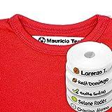 100 Etiquetas Personalizadas para ropa con Icono en Color a seleccionar. Tela Blanca. (Deportes)