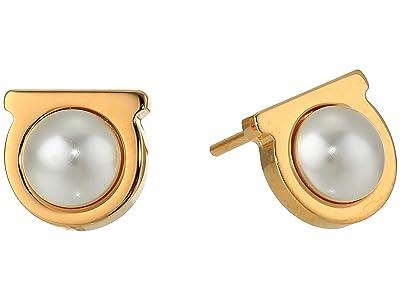 Salvatore Ferragamo Gancio Pearl Stud Earrings (Gold-Tone) Earring