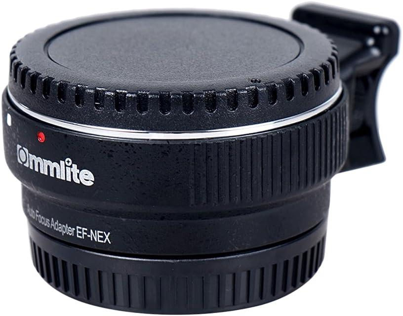 Commlite Auto Enfoque EF-NEX EF-E Adaptador de Montaje de Objetivo con Montura para Canon EF EF-S Objetivo Sony E Monte NEX 3/3N/5N/5R/7/A7 A7R Marco Completo Color Negro