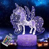 Einhorn Nachtlicht für Kinder, Einhorn Spielzeug Nachtlampe für Mädchen, 3D Lampe 16 Farben Ändern mit Fernbedienung (Einhorn 2)