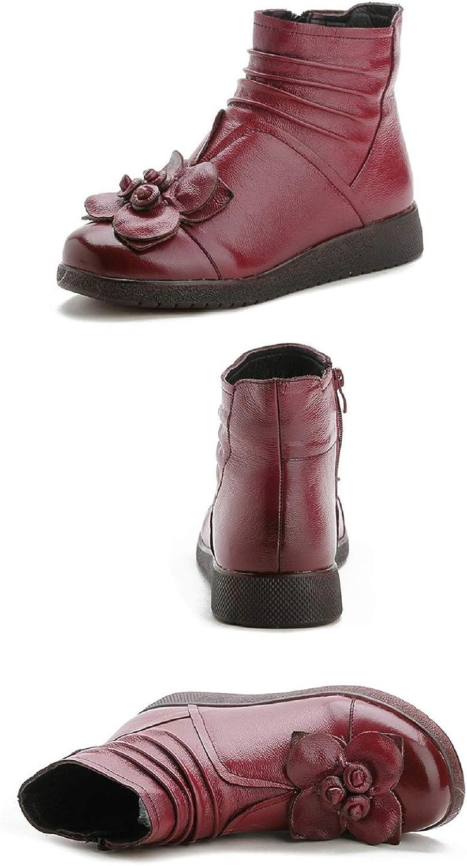 ZHRUI Lederstiefel Lederstiefel Lederstiefel Frauen Blaume Flache Reißverschluss Vintage Schuhe (Farbe   Rot, Größe   EU 40)  8205ce