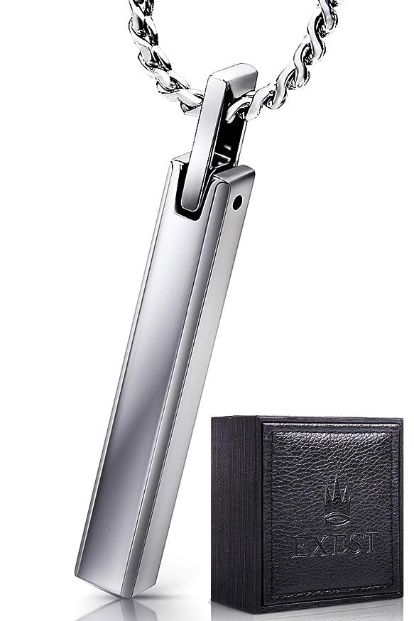 反発する不信メキシコEXEST ネックレス メンズ タングステン スティック ペンダント サージカル ステンレス チェーン 50cm シルバー