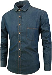 Mfasica Men Printing Ethnic Style Long Sleeve Buttoned African Western Shirt