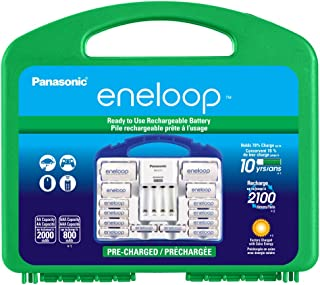 Panasonic KJ17MCC82A eneloop Power Pack, 8AA, 2AAA, 2 C Adapters, 2 D Adapters, Advanced Individual Battery Charger and Plastic Storage Case (case color may vary)