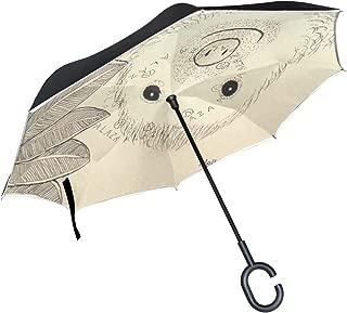 Reverse Umbrella Hello Sloth Windproof Anti-UV for Car Outdoor Use