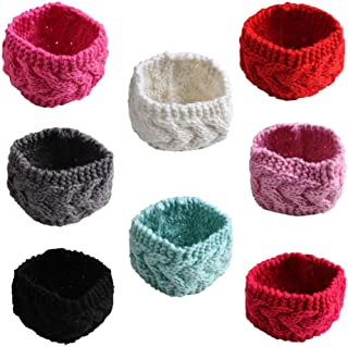Lovinglove Newest Baby Girls Turban Headbands Infant Knotted Hairband Hair Accessories with Bows (EAR02-5PCS)