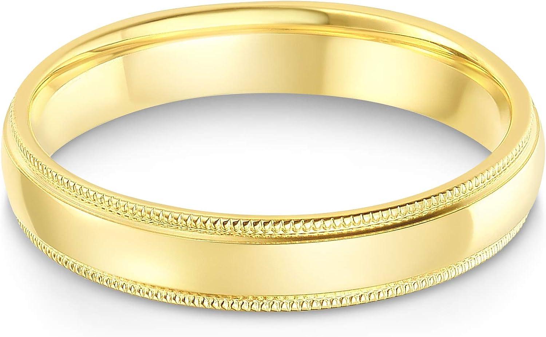 時間指定不可 Ioka - 14k Solid Yellow OR White Comfort 上品 Gold Fit 4mm T Milgrain