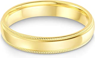 14k Solid Yellow OR White Gold 4mm Comfort Fit Milgrain Traditional Wedding Band Ring