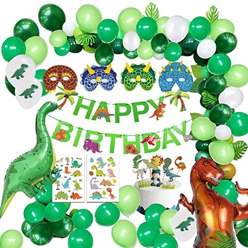 WOTEG Decoraciones de fiesta de cumpleaños de dinosaurios, 67 unidades, guirnalda de banderines de feliz cumpleaños y kit de arco, suministros de fiesta de dinosaurios globos de fiesta