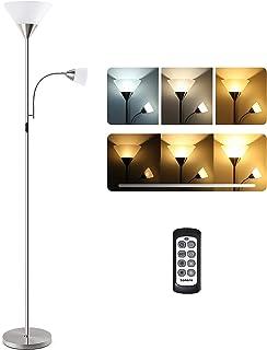 Tomons Lampadaire LED Dimmable, Lampadaire Sur Pied avec Lampe de Lecture et Télécommande, 3 Couleurs, Luminosité Variable...