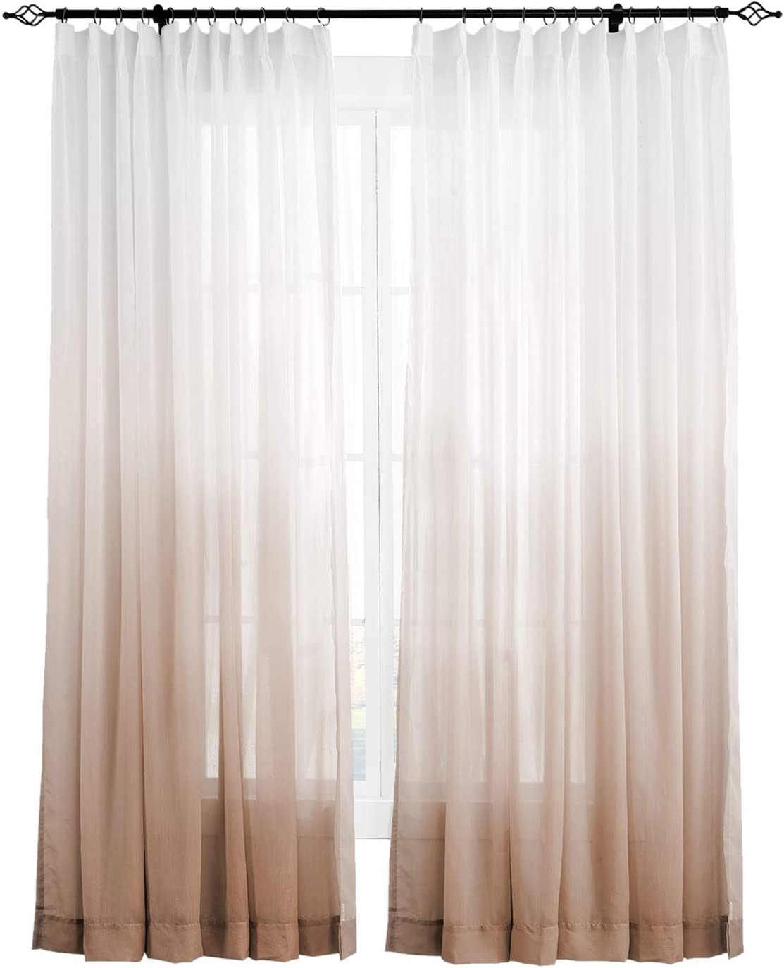 ChadMade Indoor Low price Outdoor Gradient Ombre Pinch Sheer Credence Pleat Curtain