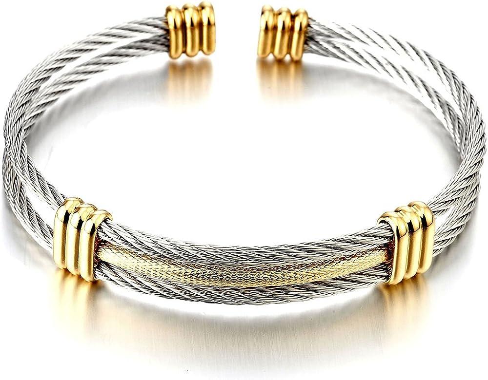 COOLSTEELANDBEYOND Men Regular dealer Women Stainless shop Cable Steel Adjus Twisted