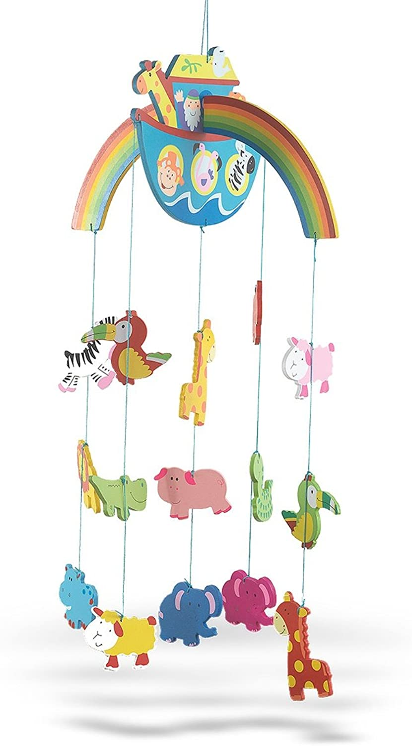 Wooden Noah's Ark with Animals Crib Mobile for Baby Nursery, 26 Inch
