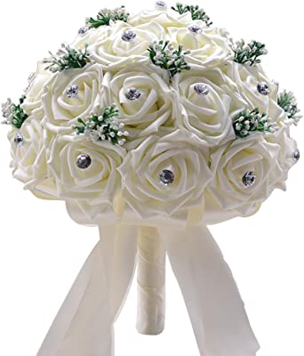 Amazon.com: GHGENGI - Ramo de flores para boda, color blanco ...