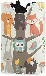 ALARGE Panier à linge pliable, durable, motif floral, animal, renard, hibou, arbre, panier à linge pliable, panier à ling...