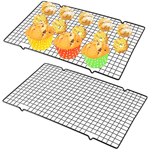 2 Pack Cooling Rack Baking RackStainless Steel Wire Cooling Racks Fit Half Sheet PanCross Wire Racks for Cool CookiesBreadsCakesOven Safe for CookingRoasting16 x 10 InchBlack