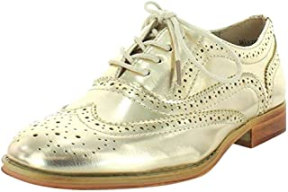 Wanted Shoes Womens Babe Almond Toe Oxfords, Gold, Size 7.0