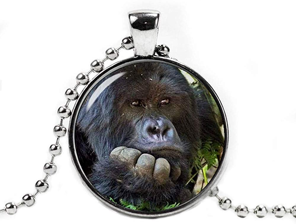 Dandelion Gorilla Pendant Necklace ,with a Ball Chain Gorilla Jewelry ,Gorilla Necklace