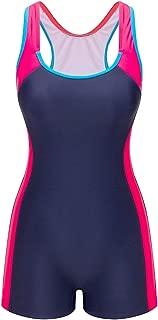 Lemef One Piece Swimsuit Boyleg Sport Swimwear for Women