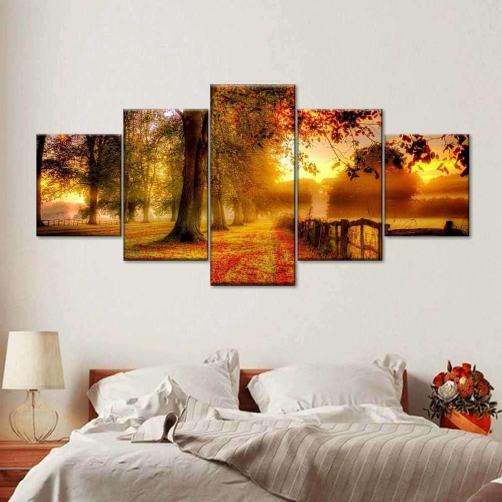 Free shipping on posting reviews San Francisco Mall ASDH 5 Piece Canvas Art New Poster England Wall Fall B Decor