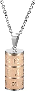Zysta Om Mani Padme Hum Buddhist Cremation Ashes Urn Necklace Rose Gold Pendant Hair Nail Teeth Bone Storage Holder Prayer Memorial Vial Bottle Container Keepsake 24 inches Chain Link Funnel