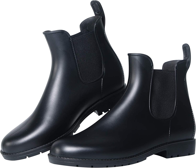Dawan Anti-Slip Ladies' Rain Boots PVC Booties Elastic Type Fashion Rain shoes Women's Waterproof Wellies Black