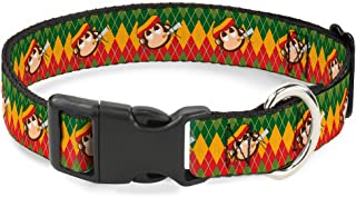 """Buckle-Down 15-26"""" Smoking Monkey Repeat Argyle Rasta Plastic Clip Collar 1"""" Wide - Fits 15-26"""" Neck - Large PC-W31988-L"""