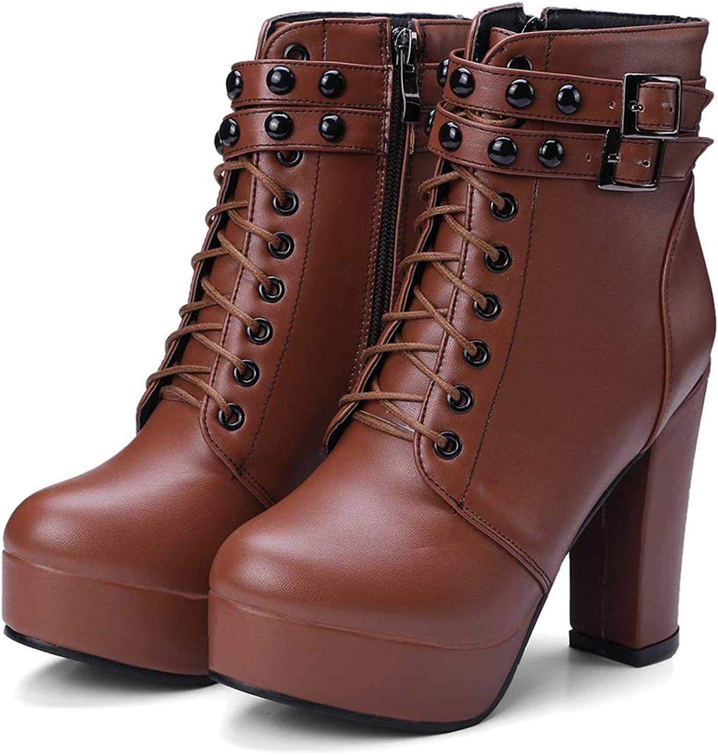 Women's shoes Comfort Basic Pump Boots Walking shoes Chunky Heel Platform Ankle Boots for Fall Winter