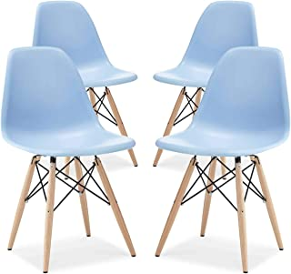 Molded Plastic Dining Chair – Inspired by Eames DSW – Eiffel Base & Wooden Legs – Mid Century Style (4, Blue)