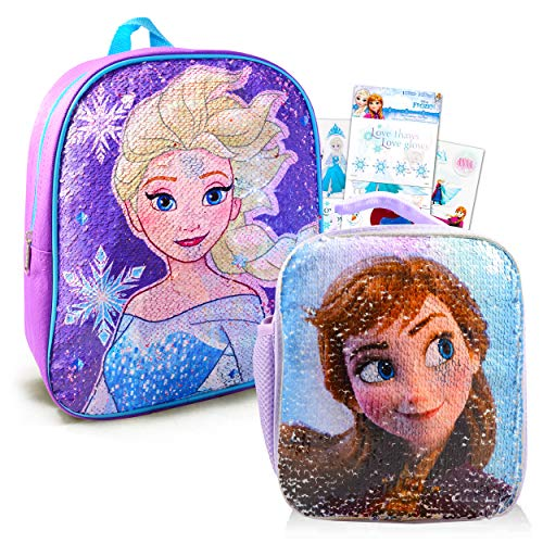 Disney Frozen Backpack and Lunch Box Bundle Set for Preschool Toddlers ~ Deluxe 12' Frozen Mini Backpack and Lunch Bag with Reversible Sequins with Stickers (Frozen School Supplies)
