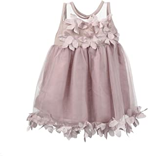 Children Baby Girls Sleeveless Lace Floral Appliques Tutu Mesh Dresses Party Wedding Princess Dress