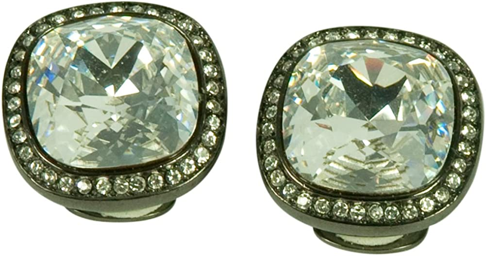 KENNETH JAY LANE, SQUARE CRYSTAL & PAVE CRYSTAL OR HEMATITE TRIM CLIP EARRING