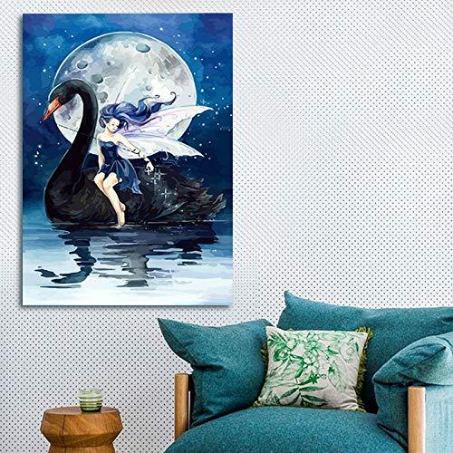 yuandp Modulaire schildering zwarte zwaan digitale kleur van digitale DIY digitale schilderij volle maan kleuring figuren 50 * 70cm