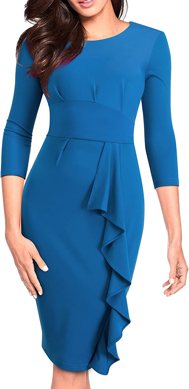 HOMEYEE Women's 3 4 Sleeve Ruffle Church Bodycon Wear to Work Dress B477
