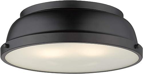 wholesale Golden Lighting new arrival 3602-14 BLK Duncan Flush Mount, Matte discount Black with Matte Black Shade online sale