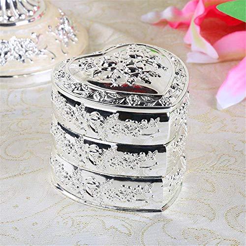 YLB Metal europeo Retro Caja de joyería giratoria de múltiples capas Caja de escritorio en forma de escritorio Caja de joyería en forma de corazón Vintage Caja de joyería de metal (color: Plata, Tamañ