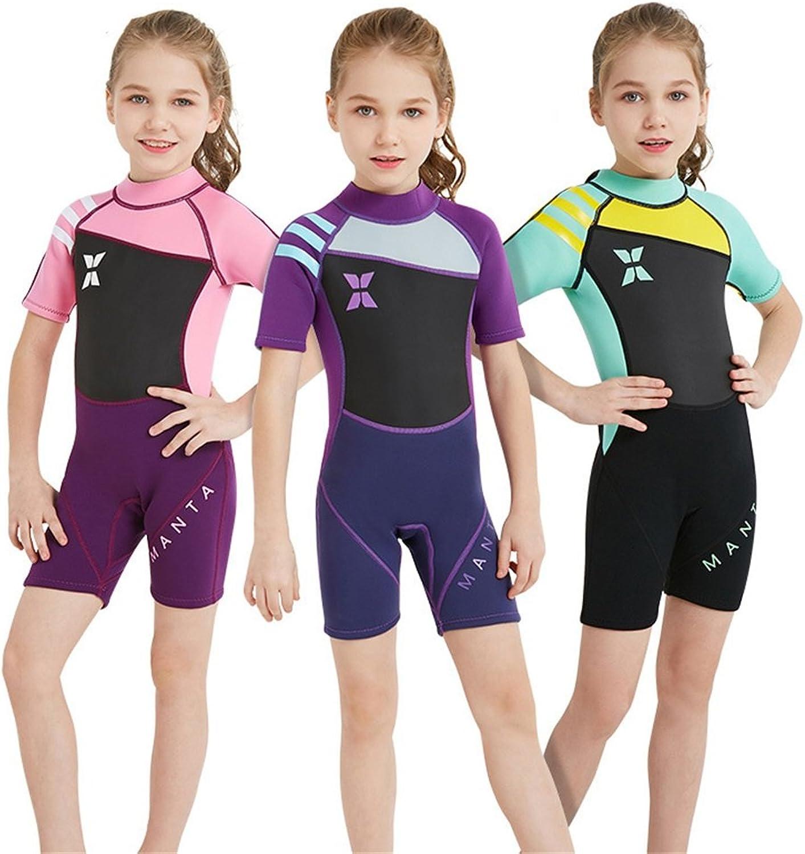 LXYFMS Kinder 2.5MM Warme Taucheranzug Siamesische Kurzarm-Sonnenschutz Schnorchelanzug Treibende Kalte Badebekleidung Shorts (Farbe   lila, Größe   S)