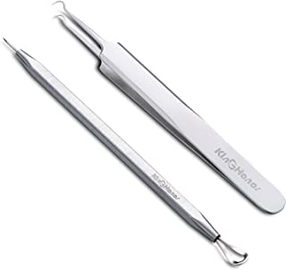 KinGHonor Professional Blackhead Remover Tools Stainless Steel Blackhead Removal Kits – Easily Remove Pimples Splinter Whiteheads Comedones Acne Zit Ingrown Hairs and Facial Impurities Surgical