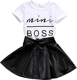 Toddler Kids Baby Girls Letter T-Shirt Tops + Lovely Skirts Outfits 2PCS