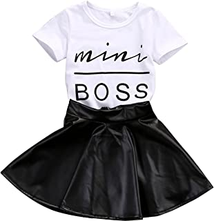 Kids Baby Girls Mini Boss Letters Short Sleeve Tops +Leather Skirt Outfits Sets