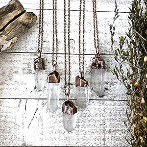 Raw Clear Quartz Crystal Necklace Pendant Boho Gemstone Jewelry for Women