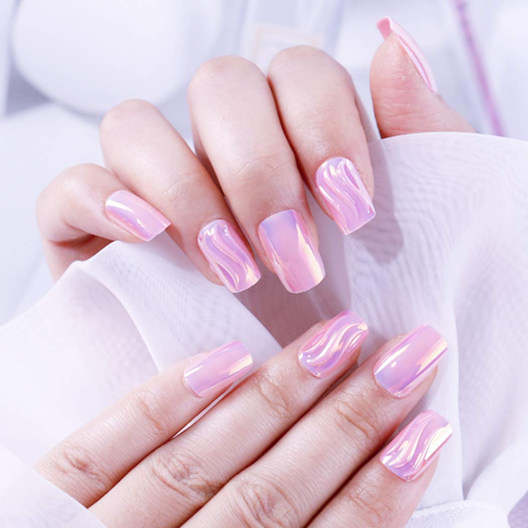 Zehory Free shipping on posting reviews Glossy Fake Nails Pink Full Square New mail order Press on Acrylic