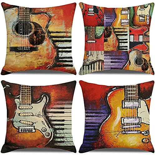 LAXEUYO Juego de 4 Cojin Fundas 45x45 cm, Guitarra Algodón Lino Decorativa Hogar Almohadas Fundas para Sofá Cama Decoración para Hogar