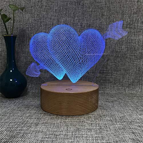 3D Night Lights Creative Solid Wood Base New Odd Gift Light LED Mentira Luz de enchufe decorativa (Color : Multi-colored)