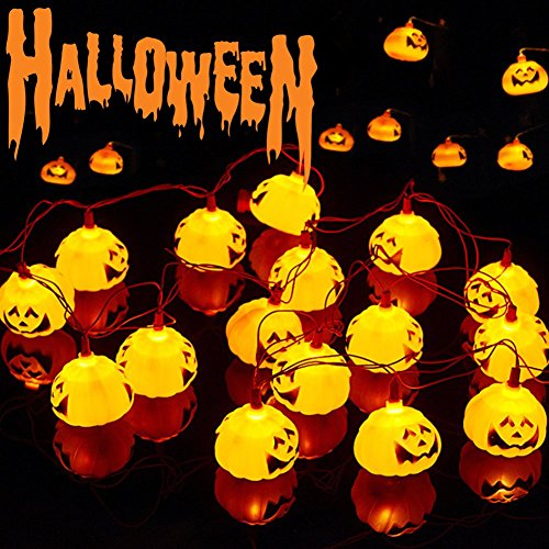 Halloween Lichterkette, Kürbis Lichterkette, Halloween Kürbis Deko Licht, 3D Kürbis Deko Horror Pumpkin Lichter,3D Kürbis Beleuchtung Halloween Deko Lichterkette für Party Garten Festival Herbstdeko