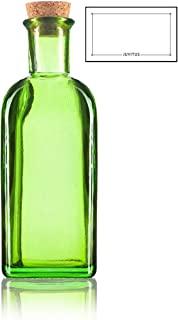 Green Spanish Thick Recycled Glass Bottle with Natural Cork Top - Large - 17 oz / 500 ml