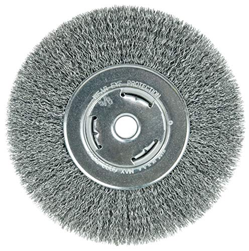 Weiler 06655 Wolverine 7' Wide Face Bench Grinder Wheel, .014' Crimped Steel Wire Fill, 5/8' Arbor Hole, Made in the USA