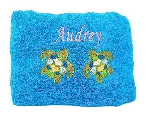 """Personalized Beach and Pool Towel With Embroidered Name and Sea Turtle Design 100% Cotton 30""""x 54"""""""