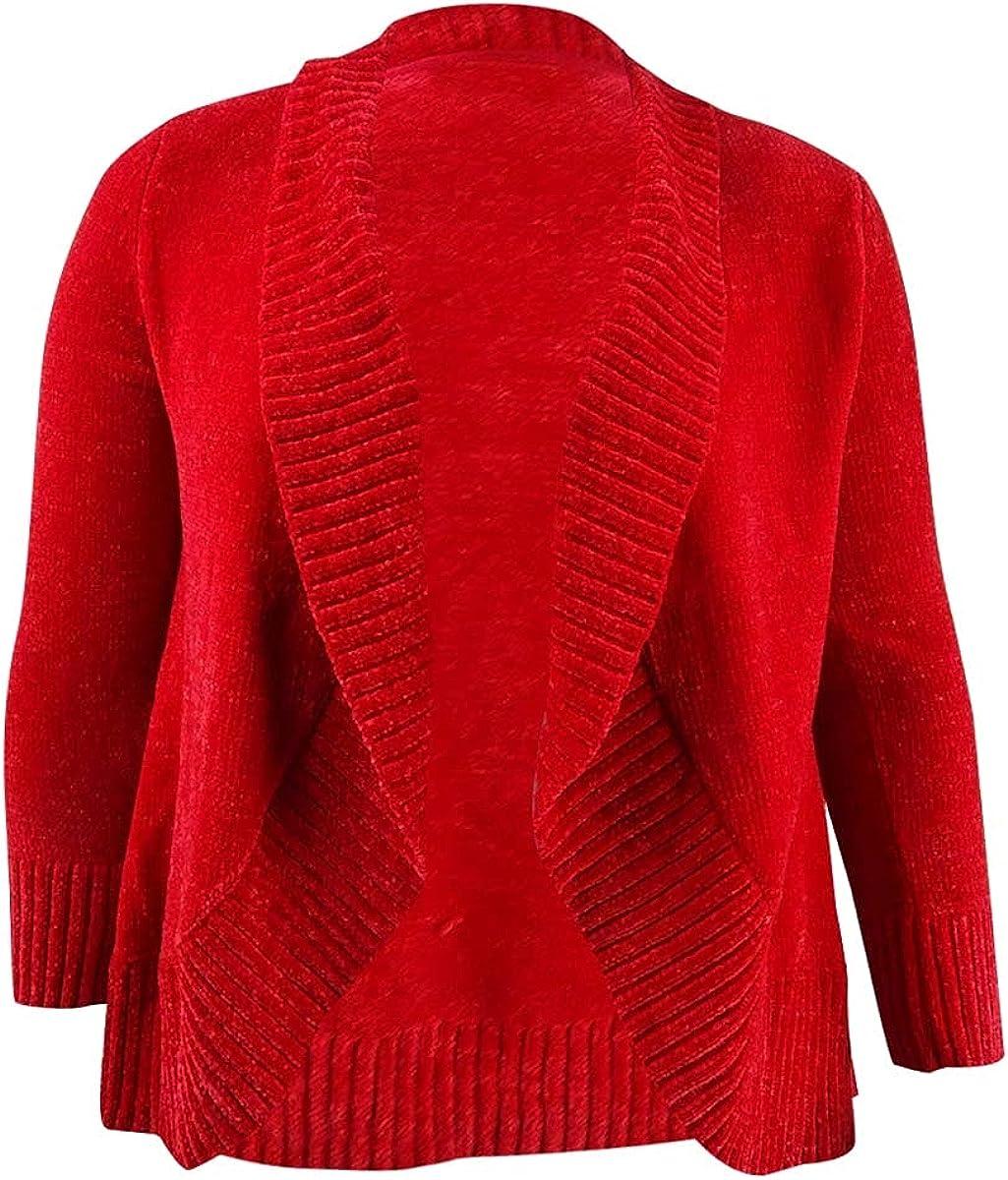Style & Co. Women's Petite Chenille Shawl-Collar Cardigan (PL, Red Polish)